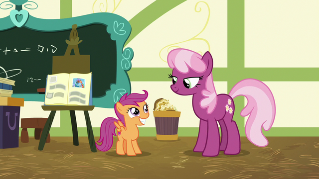 File:Cheerilee gives Scootaloo a B for her report S7E7.png