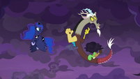 Discord next to a small black cloud S9E17