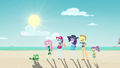Fluttershy and friends watching Tank EGDS14.png