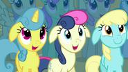 Lemon Hearts, Sweetie Drops, and Sassaflash smiling S03E13