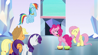 Pinkie Pie dancing with cake on her hooves S9E1