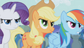Rarity, Applejack and Rainbow frowning S1E6.png