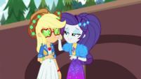 Rarity pinching Applejack's cheek EGDS44