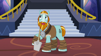 Rockhoof considering his statue pose S8E21