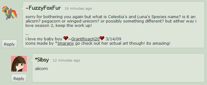 Sabrina Alberghetti stating that Celestia and Luna are alicorns