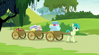 Sandbar pulling carts of food and pillows S8E2