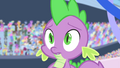 Spike surrounded by staring ponies S4E24.png