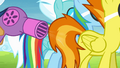 Spitfire's tail being blown by a hairdryer S4E10.png