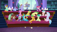 Students groaning; Cozy Glow clapping S8E22