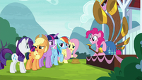 Twilight's friends nervously agree with her S8E18