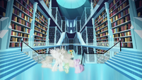 Twilight, Celestia, and Spike in Crystal Empire simulation S7E1
