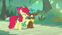 Apple Bloom nudges Spur with her elbow S9E22