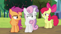 Apple Bloom smiling; Sweetie Belle and Scootaloo looks at her S5E17.png