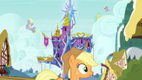 Applejack walking past Castle of Friendship EGSB