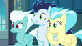 Fleetfoot, Soarin, and Misty Fly looking amused S8E5.png