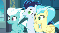 Fleetfoot, Soarin, and Misty Fly looking amused S8E5