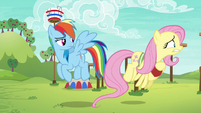 Fluttershy flying toward the obstacle course S6E18