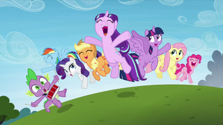 Main cast and Starlight Glimmer jump in happiness S5E26