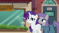 Maud and Rarity standing together while Pinkie runs off S6E3