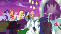 Park patrons cheering for Equestria Girls EGROF