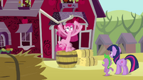 Pinkie Pie flailing on top of barrel S03E13