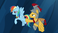 Rainbow Dash and Flash Magnus hoof-bump S7E26