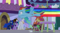 Rainbow Dash flies past Discord S9E17
