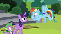 Rainbow Dash looking excited at Twilight S8E7