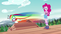 Rainbow Dash zips around the wooden boards EG4