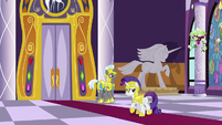 Rarity approaching the throne room door S9E4