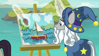 Star Swirl painting a portrait of a boat S8E16