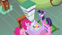 Twilight Sparkle impressed by Pinkie's files S7E3