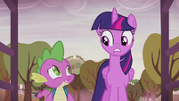 Twilight and Spike look at each other S5E25