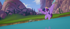 Twilight flying over the Canterlot river MLPTM