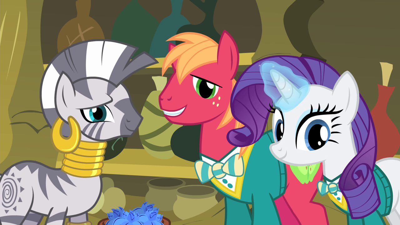 image zecora big mac and rarity looking at fluttershy s4e14 png