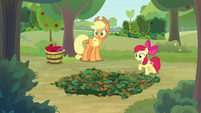 AJ and Apple Bloom hear rustle in the bushes S9E10