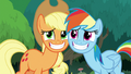 AJ and Rainbow grinning wide at Twilight S8E9.png