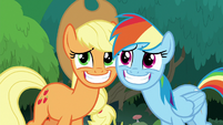 AJ and Rainbow grinning wide at Twilight S8E9