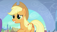 Applejack pushes Rainbow away S3E2