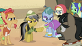 Daring Do and villagers glaring at Dr. Caballeron S7E18.png