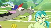 Discord blows his whistle in Sandbar's face S8E15
