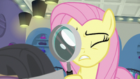 Fluttershy counting threads with magnifying glass S8E4