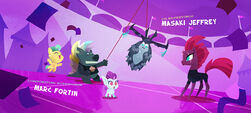 Grubber and Fizzlepop and baby Hippogriffs with a Storm King piñata MLPTM