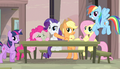 Mane Six putting on act for watching ponies S5E1.png