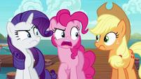 Pinkie Pie aghast at Applejack S6E22