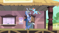 Rainbow gives Discord a hat and a briefcase S4E11.png