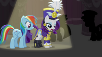 Rarity talking about the uniform she's wearing S4E21