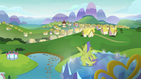 Spike and Sludge look out at Ponyville S8E24