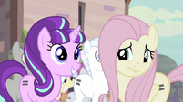Starlight smiling and Fluttershy nervously smiling S5E02