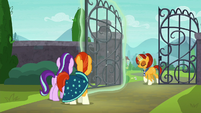 Stellar Flare walking through village gate S8E8